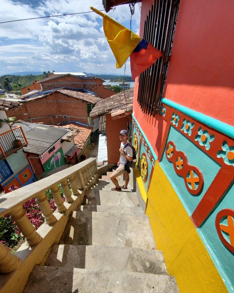 Male Traveler on Guatape Steps