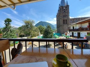 View of Plaza from Cafe de los Andes in Jardin