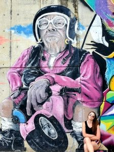 Motorcycle Grandma Mural in Medellin Comuna 13
