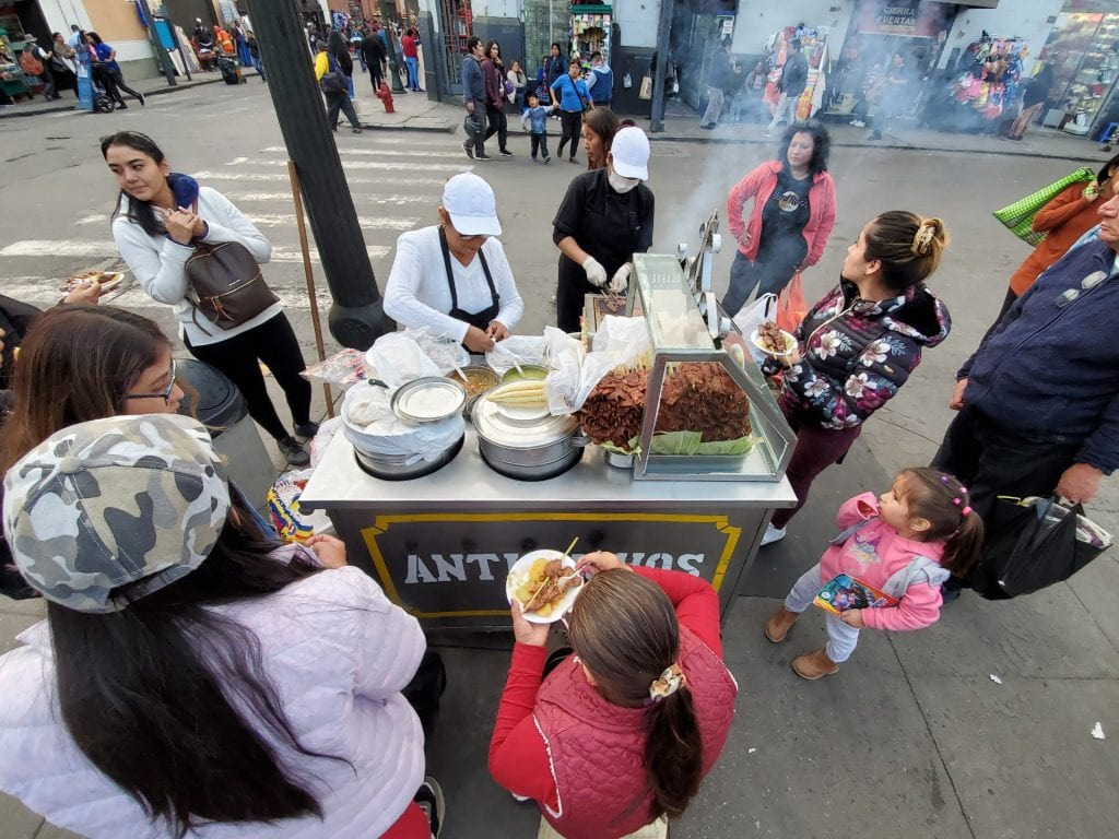 Street food in Barrio Chino in Lima, Peru