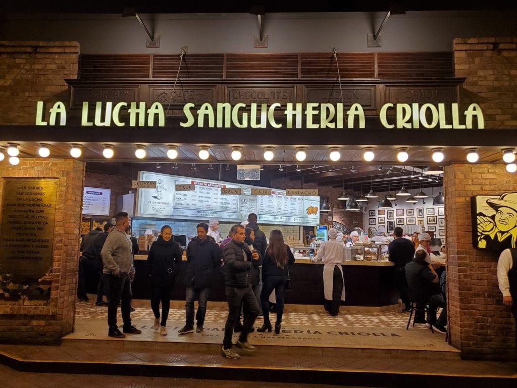 La Lucha Sangucheria Criolla deli storefront in Lima, Peru