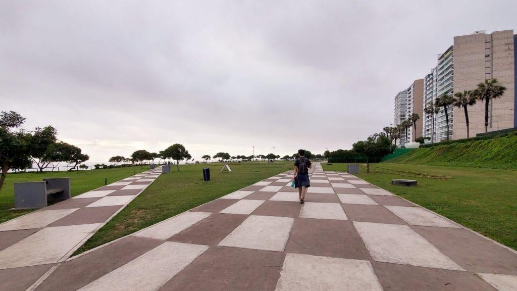 Shore-front park in Miraflores, Lima, Peru