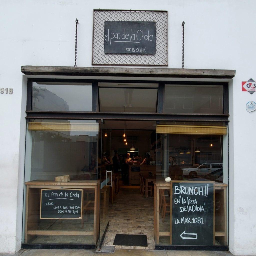 El Pan de la Chola cafe storefront in Miraflores, Lima Peru
