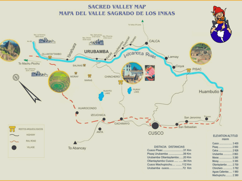 Sacred Valley Self Guided Map