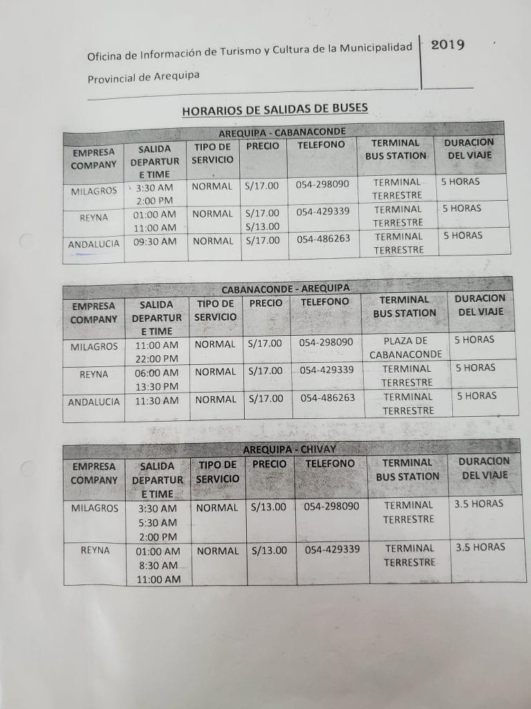Colca Canyon Bus Schedule