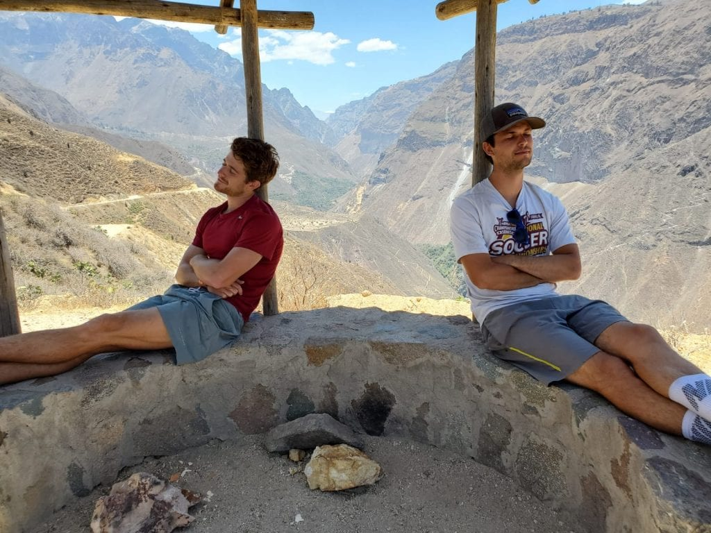 Travelers resting on 3 day Colca Canyon trek