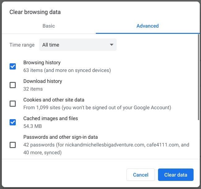 google chrome clear cache
